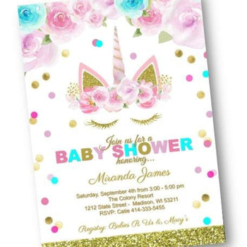 Unicorn Baby Shower Invitation Gold Pink Purple and Teal Shower Invite for Girl - Baby Shower Invitation