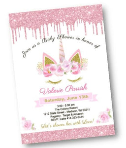 Unicorn Baby Shower Invitation with Sparkles - Glitter Pink and Gold Shower Invite for Baby Girl - Baby Shower Invitation
