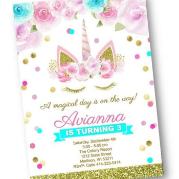 Unicorn Birthday Invitation Gold Pink Purple and Teal Magical Day Invite - Birthday Invitation