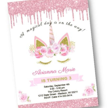 Unicorn Birthday Invitation - Pink and Gold Sparkle Glitter Party Invites - Fantasy Unicorn Eyelashes Magical Day Invite - Birthday