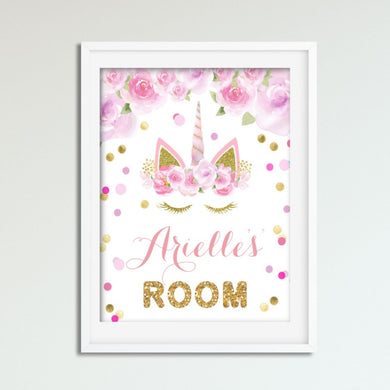 Unicorn Wall Art - Pink and Gold - Girls Bedroom Decor - Personalized Name Wall Picture