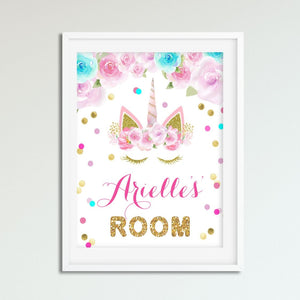 Unicorn Wall Art - Pink and Gold and Teal - Girls Bedroom Decor - Personalized Name Wall Picture