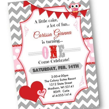 Valentines Birthday Invitation - valentines day chevron hearts with owl for girls - Birthday Invitation