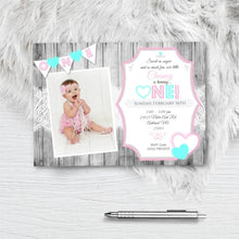 Valentines Day 1st Birthday Invitation with Photo Sweetheart hearts girl picture invite - Birthday Invitation