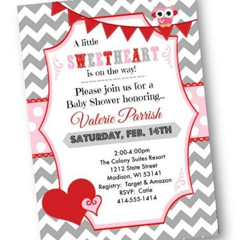 Valentines Day Baby Shower Invitation with owl and pink and red chevron - Baby Shower Invitation