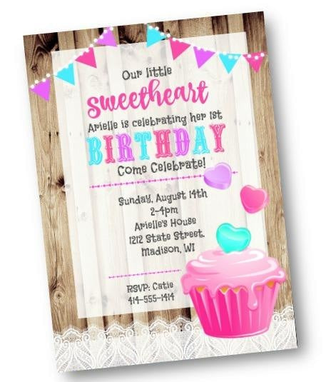 Valentine/'s Party Cupcake Soire Cupcake Invitation Printable or Printed with FREE SHIPPING Birthday
