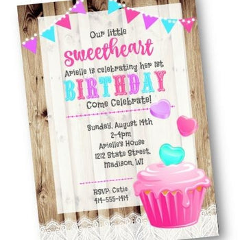 Valentines Day Birthday Party Invitation Sweetheart Cupcake Flyer - Birthday Invitation