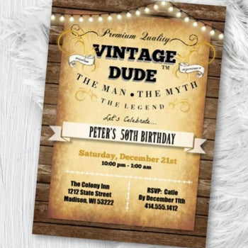 Vintage Dude Adult Birthday Invitation for Men - 40th - 50th - 60th - 70th - ANY AGE - Vintage and Gold Birthday Party Invite - Birthday