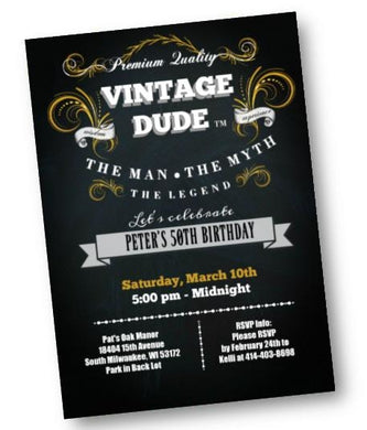 Vintage Dude Birthday Invitation for Men - 40th - 50th - 60th - 70th - ANY AGE - Black and Gold Birthday Party Invite - Birthday Invitation
