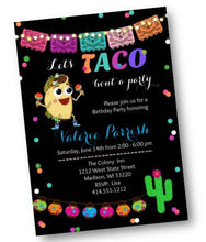White Taco Bout A Party - Birthday Fiesta Party Invitation - Invites for Taco Party - Birthday Invitation