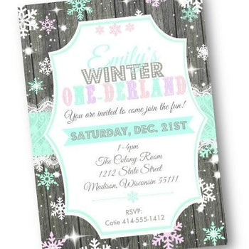 Winter One-derland 1st Birthday Invitation Onederland first birthday flyer invite - Holiday Invitation