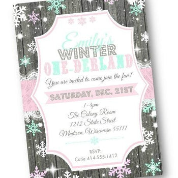 Winter One-derland Birthday Invitation Pink Snowflake Wonderland Flyer - Holiday Invitation