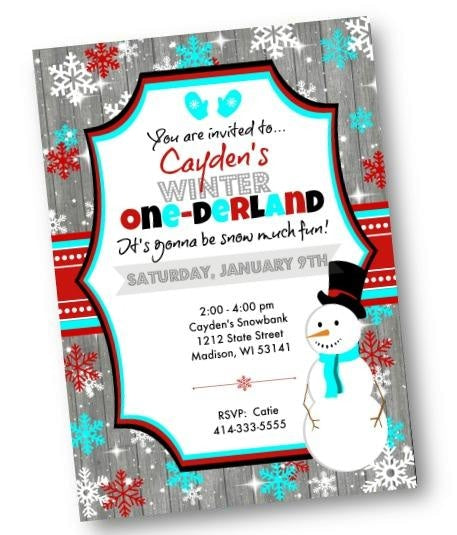 Winter One-derland Boy 1st Birthday Invitation with Snowman - Holiday Invitation