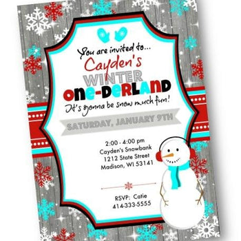 Winter One-derland Boy 1st Birthday Invitation Winter Wonderland Party Flyer - Holiday Invitation