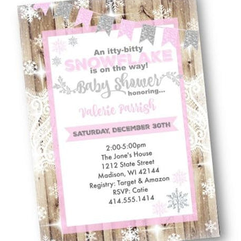 Winter Wonderland Baby Shower Invitation Pink and Silver - Holiday Invitation