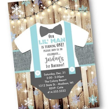 Winter Wonderland Bow Tie Onesie Birthday Invitation For Boy - Holiday Invitation
