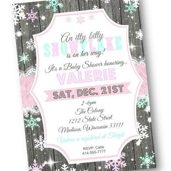 Winter Wonderland Snowflake Baby Shower Invitation - Holiday Invitation
