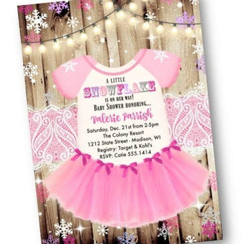 Winter Wonderland Tutu Onesie Baby Shower Invitation - Holiday Invitation