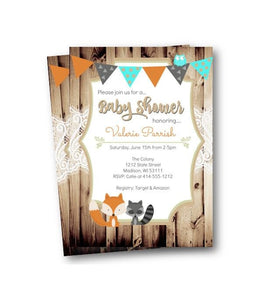 Woodland Forest Animal Baby Shower Invitation - Baby Shower Invitation