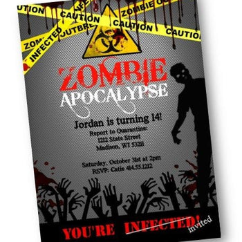 Zombie Birthday Party Invitation Zombie Apocalypse Flyer - Birthday Invitation