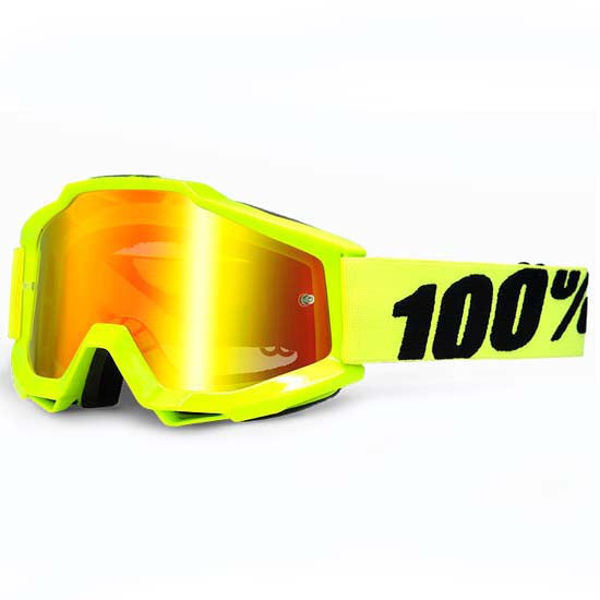 100% Accuri Goggles DH Downhill MTB Bike Motocross Red Mirror Lens Yellow