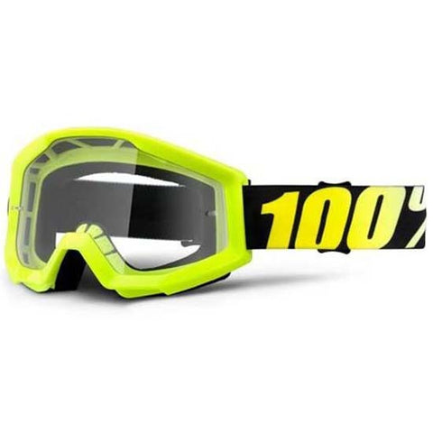 100% Strata Goggles DH Downhill MTB Bike Motocross MX Eyewear Neon Yellow