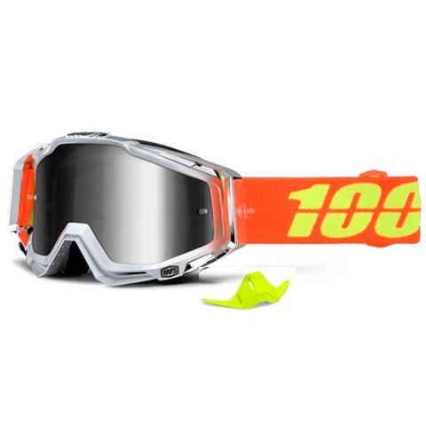 100% Racecraft Goggles Silver Mirror Lens DH Downhill MTB Bike Motocross Airstream