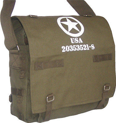 Canvas Messenger Dispatch Shoulder Student College Bag Khaki US Star Mens Mans