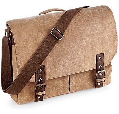 Vintage Style Canvas Messenger Satchel Briefcase Office Work Shoulder Bag Sahara