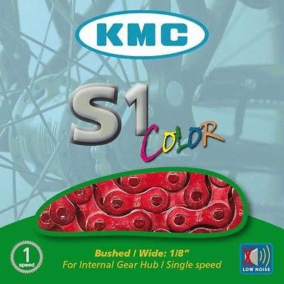 "KMC Single Speed / BMX Bike Bicycle Chain 1/2"" x 1/8"" 112 links Red"