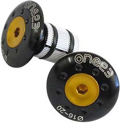 One23 MTB Bicycle Bike Alloy Handlebar End Plug Plugs Caps Inserts Black / Gold
