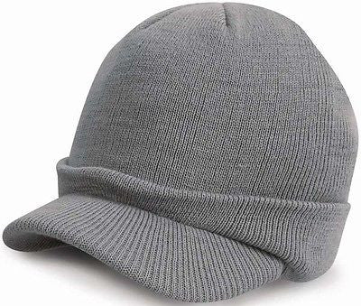 Warm Winter Peaked Peak Beany Beanie Jeep Cap Hat Mens Mans Grey