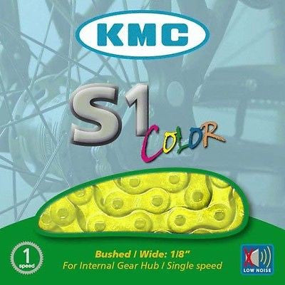 "KMC Single Speed / BMX Bike Bicycle Chain 1/2"" x 1/8"" 112 links Yellow"