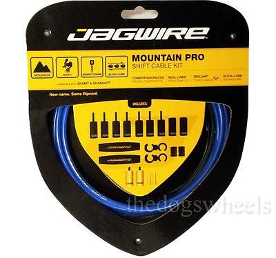Jagwire Mountain Pro MTB Derailleur Gear Cable Cables Kit Set Bicycle Bike Blue