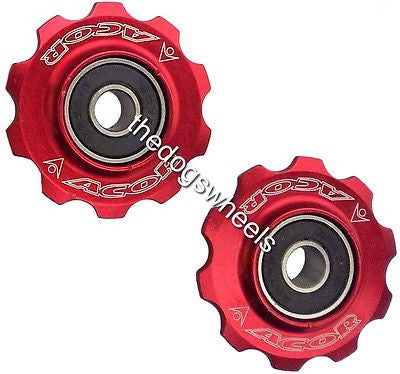 Acor CNC 10t 10 teeth jockey pulley wheels red 7 8 speed