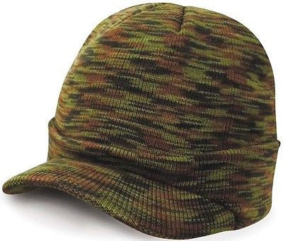 Warm Winter Peaked Peak Beany Beanie Jeep Cap Hat Mens Mans Camouflage Camo