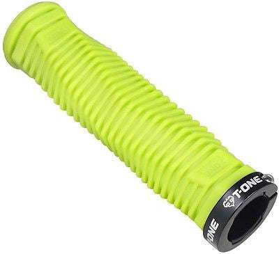 Pair T-One DNA Lock-on MTB Bicycle Bike Handlebar Grips Lock On Lime Green