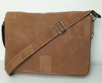 Mens Tan Brown Leather Messenger Student Office Shoulder Bag Manbag Man Bag