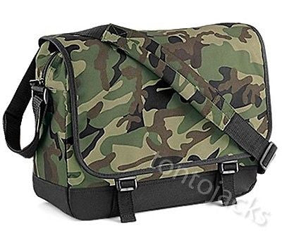 Green Camo Camouflage Messenger Shoulder Dispatch Student College Bag Manbag