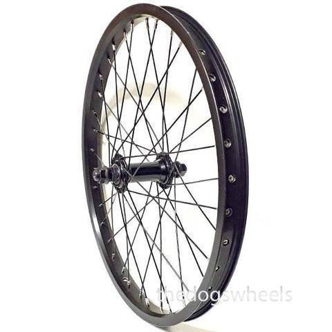 "BMX Bike Bicycle Front Wheel 20"" x 1.5"" Sealed Bearings Double Wall 14mm axle Black"