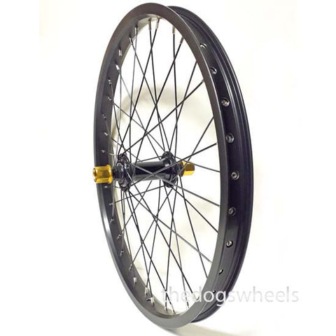"BMX Bike Bicycle Front Wheel 20"" x 1.5"" Sealed Bearings Double Wall 14mm axle Black Gold Nuts"