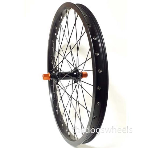 "BMX Bike Bicycle Front Wheel 20"" x 1.5"" Sealed Bearings Double Wall 14mm axle Black Orange Nuts"