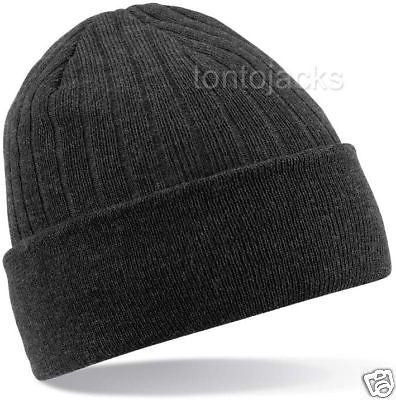 Warm Winter Thinsulate Beanie Beany Hat Ski Skiing Mens Mans Black