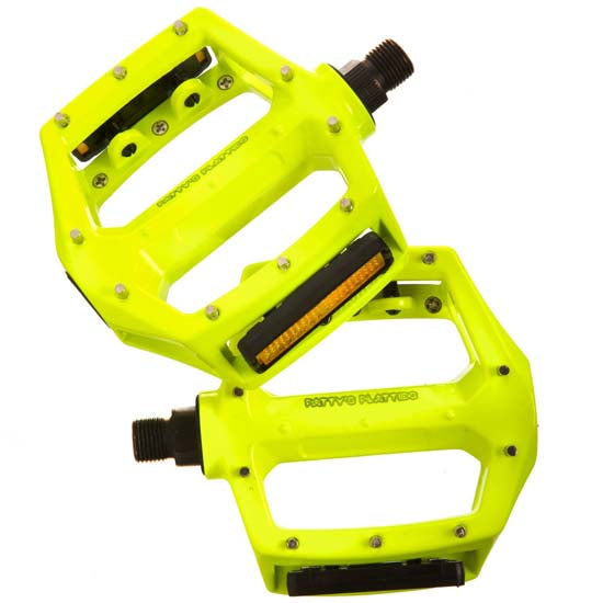 "Fat Spanner Mountain Bike MTB Bicycle Flat Platform Pedals 9/16"" Neon Yellow"