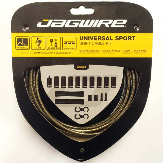Jagwire Universal Sport MTB / Road Bike Bicycle Gear Cable Kit (incl Campag) Carbon Silver