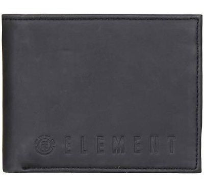 Element Icon Mens Mans Embossed Black Leather Wallet Bi-Fold