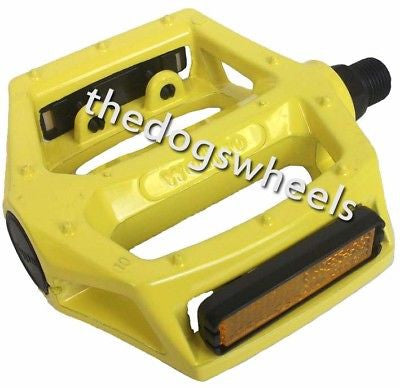 "Wellgo Alloy 9/16"" MTB BMX Bike Bicycle Flat Paltform Pedals Yellow"