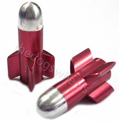 Bicycle Bike MTB BMX Dust Caps Valve Covers Alloy Anod Red Rockets Schrader