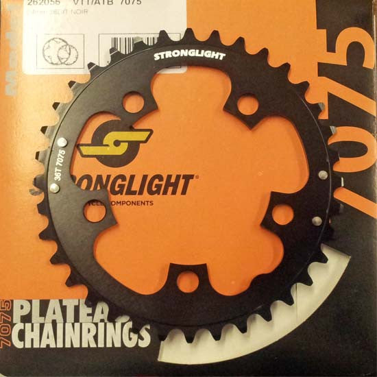Stronglight 36T Chainring 94mm BCD 7075 Alloy 5 Arm Road Racing Bike Black