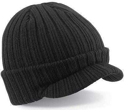 Warm Winter Peaked Peak Beany Beanie Jeep Cap Hat Mens Mans Black One Size